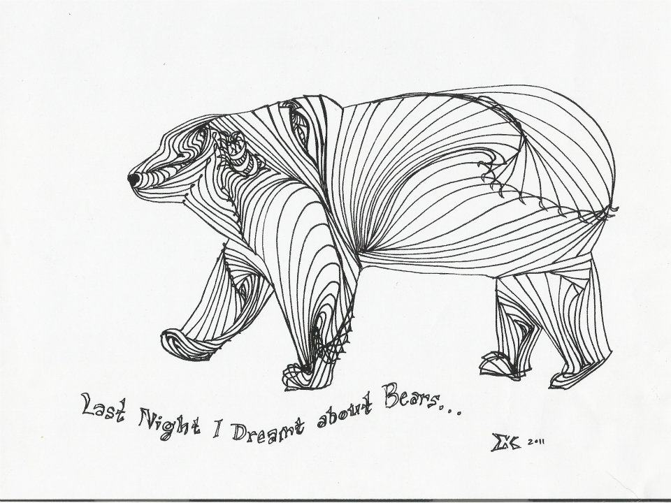 Line Art Bear : Line drawing cliparts