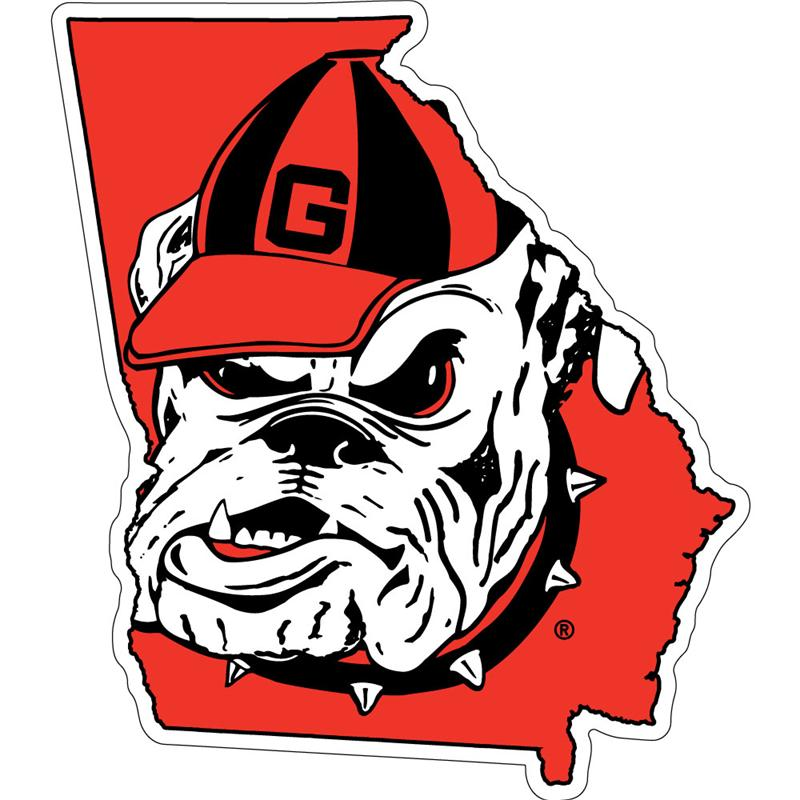 UGA Georgia Bulldogs State with Logo Decal - Old Bulldog - ClipArt ...