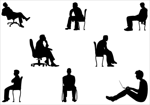 People Sitting Silhouettes Cliparts Co