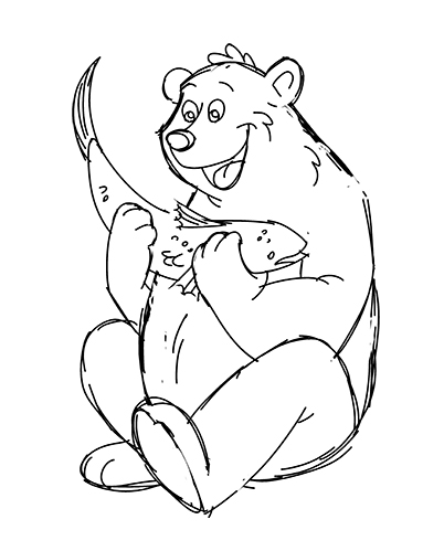 how to draw a cartoon grizzly bear