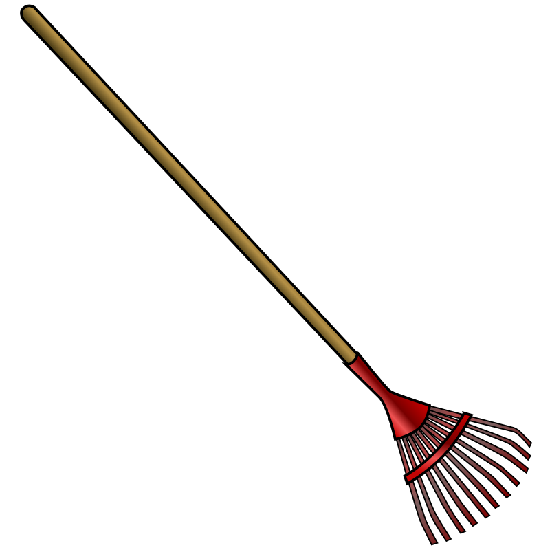 Clipart leaf rake for Gardening tools cartoon