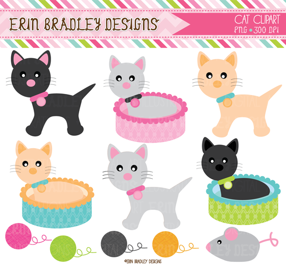 Erin Bradley Designs: New Puppy Dogs & Cats Clipart and Digital ...