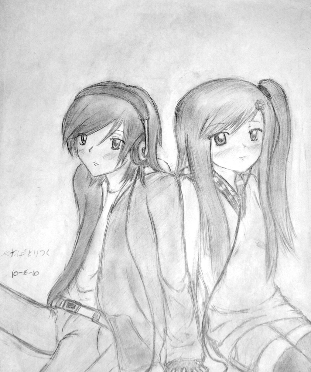 Cute anime couple holding hands drawing drawingsomeone com