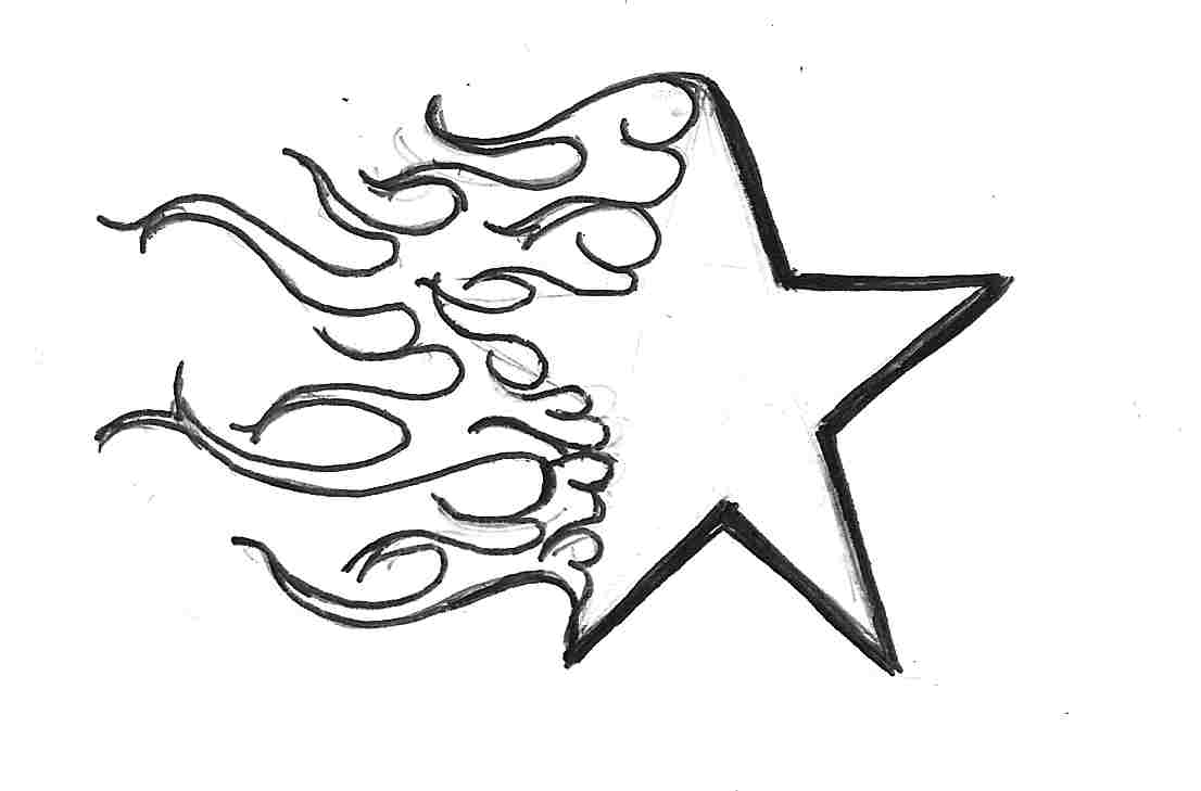 Line Art Star : Shooting star drawing cliparts