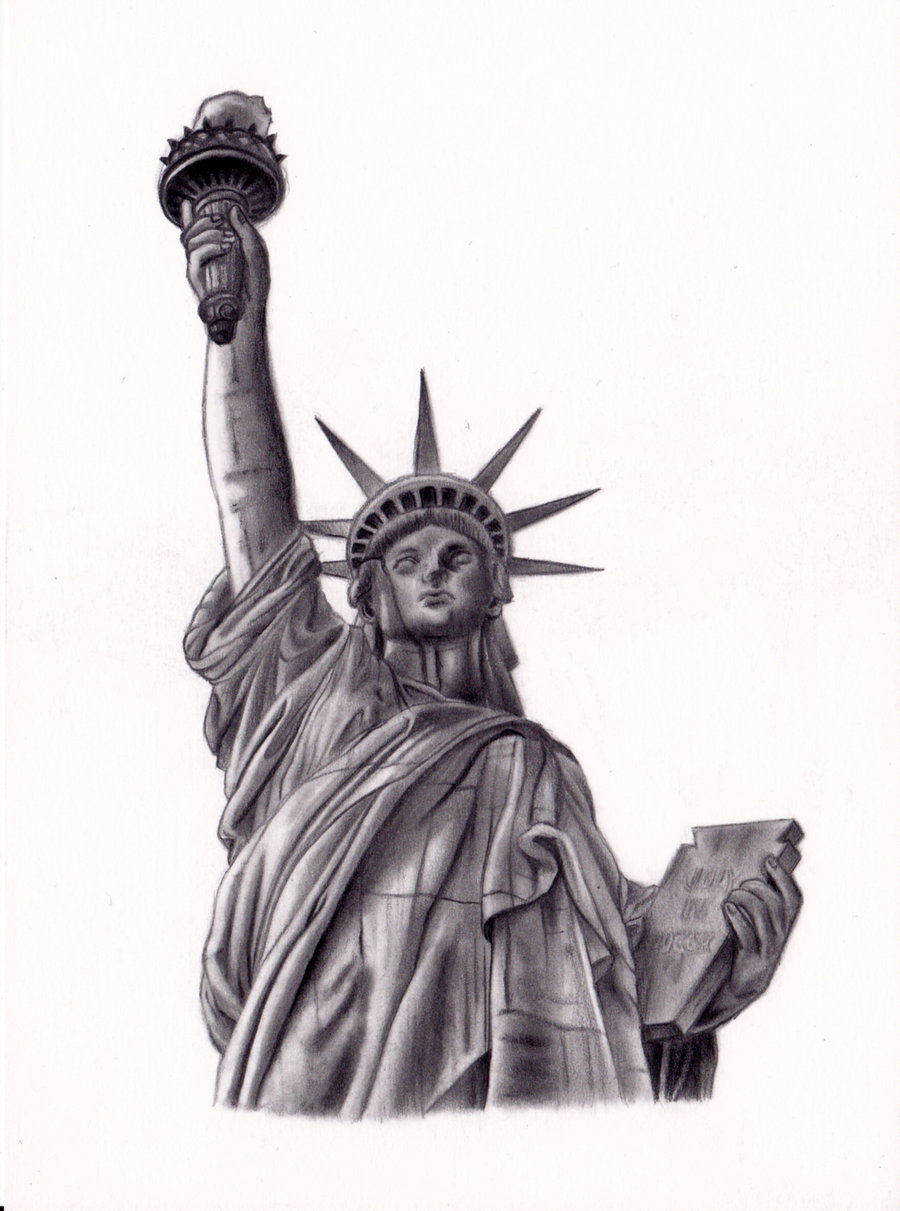 Statue of liberty drawing outline for Statue of liberty drawing template