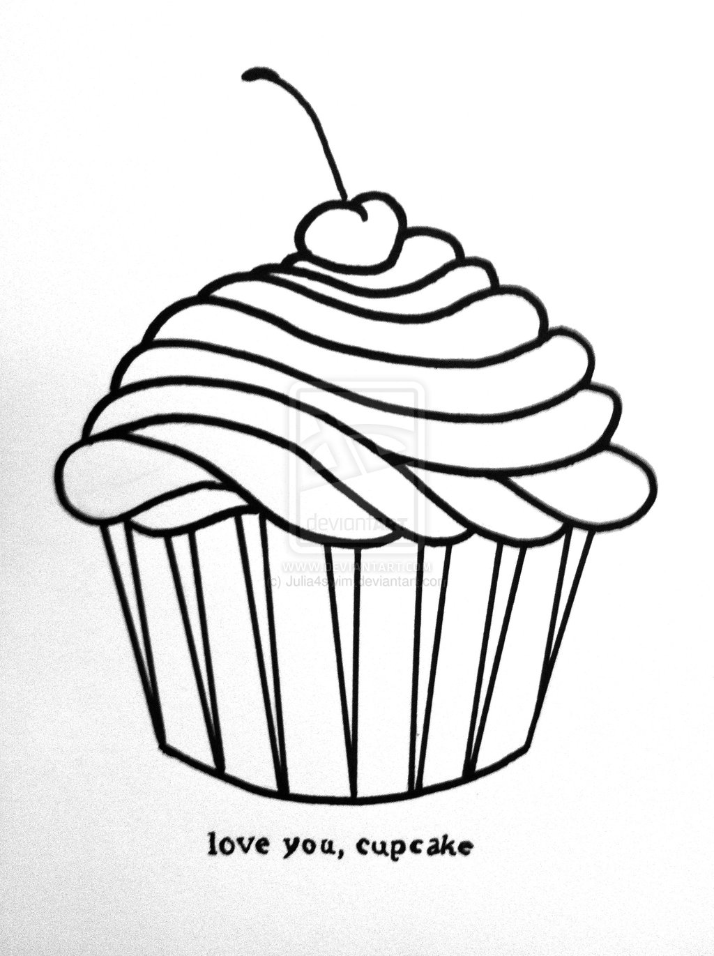 Line Drawing Cake : Cupcake line drawing cliparts