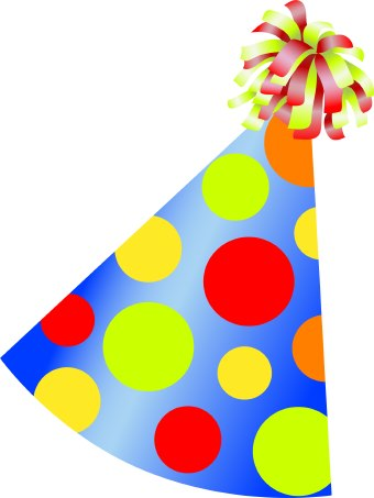 Clip Art Of Colorful Conical Birthday Party | Happy Birthday Idea
