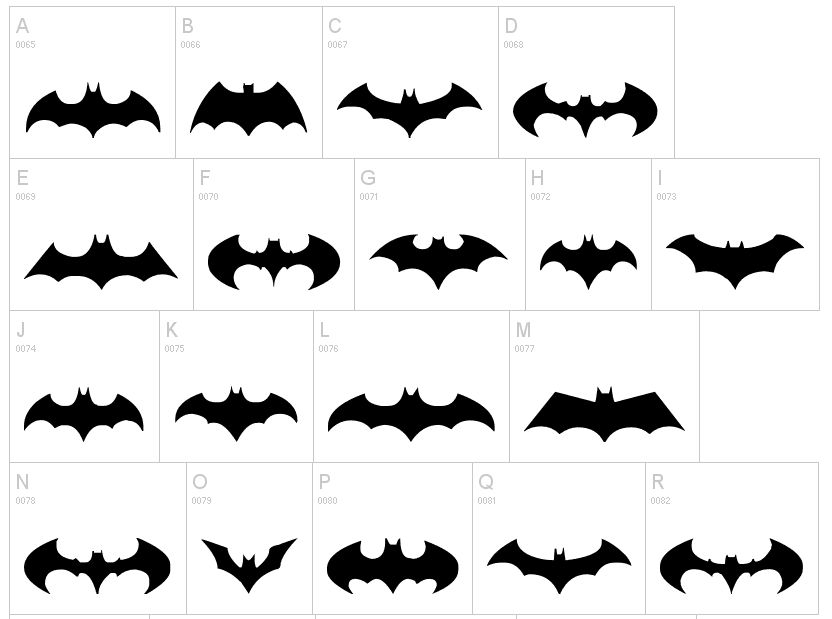 All Batman Logo Designs Dingbats | Dingfonts.com