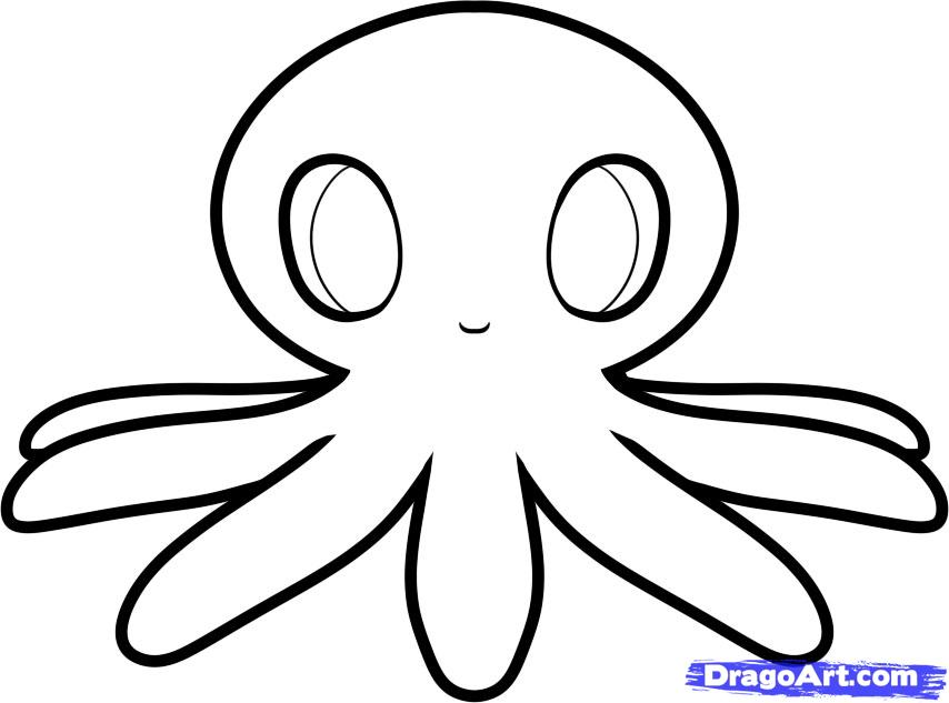 How to draw an octopus  Step by step Drawing tutorials