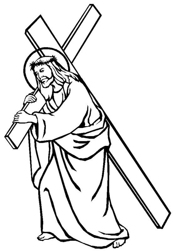 Line Drawing Jesus : Jesus on the cross cartoon cliparts