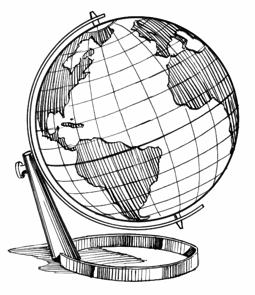 Line Drawing Geography : Globe line art cliparts