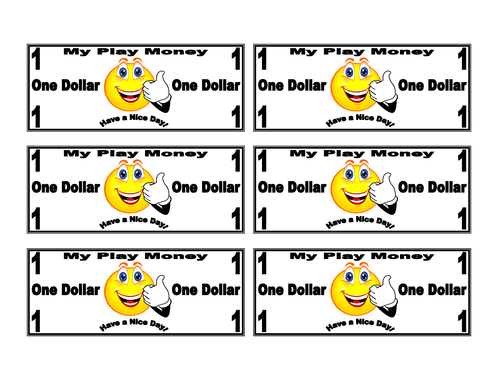 Dollar bill template for kids