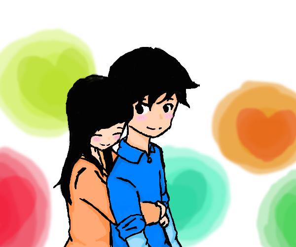 Cute cartoon boy and girl hugging