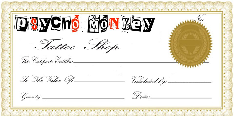 tattoo gift certificate template clipartsco