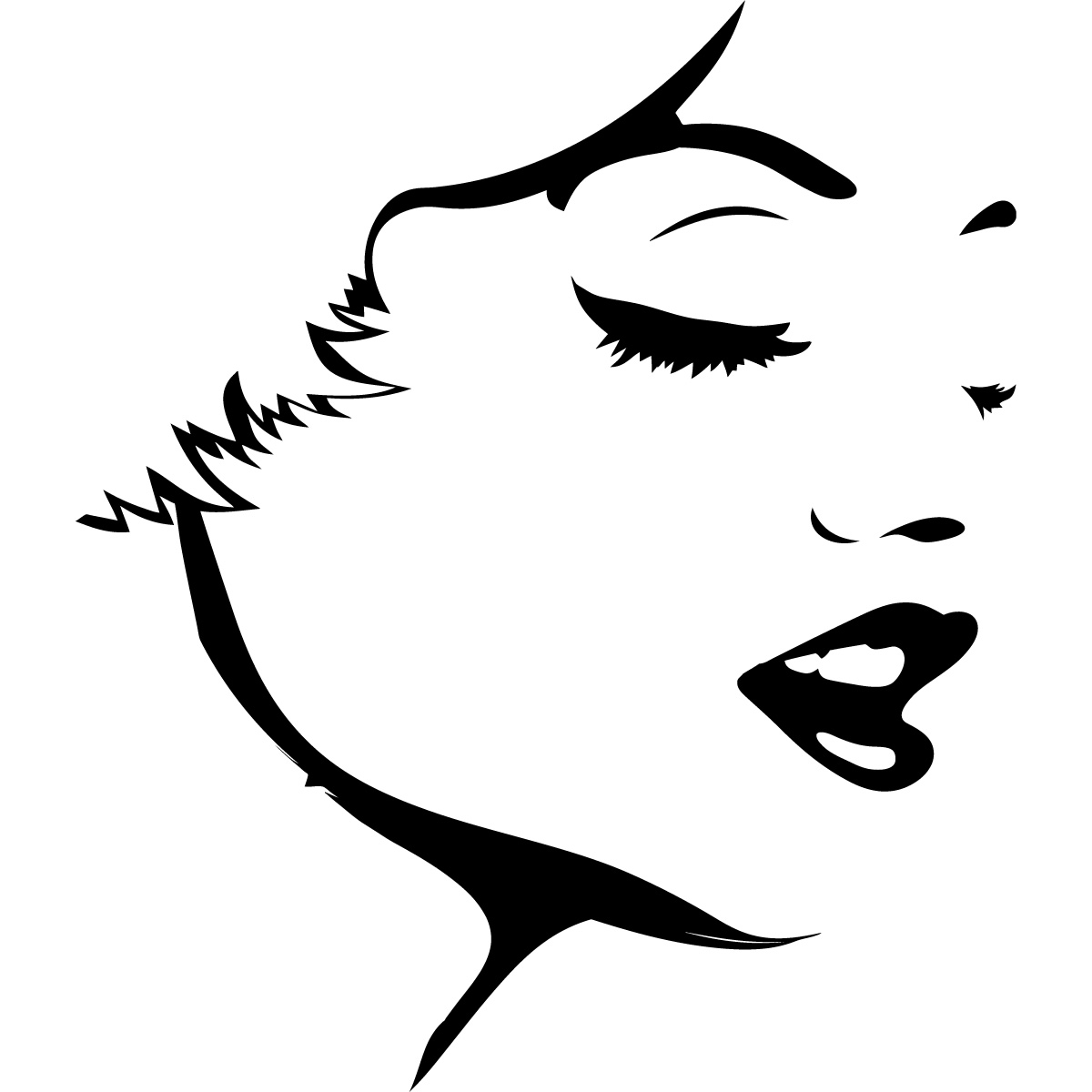 Womans Face Outline People Wall Art Stickers Wall Decal Transfers ...