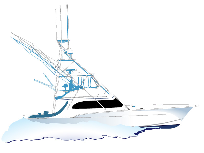 Sport fishing boat drawing for How to draw a fishing boat