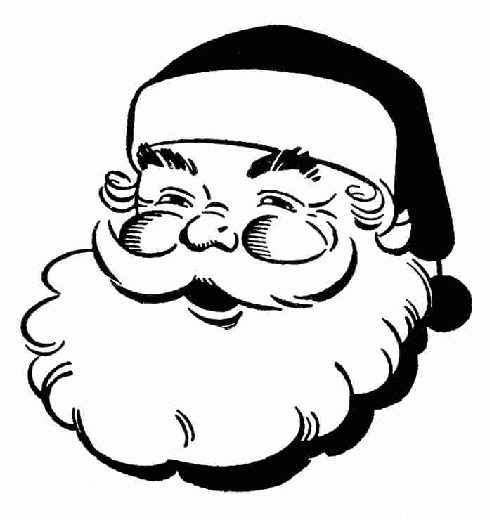 free black and white santa clipart - photo #5