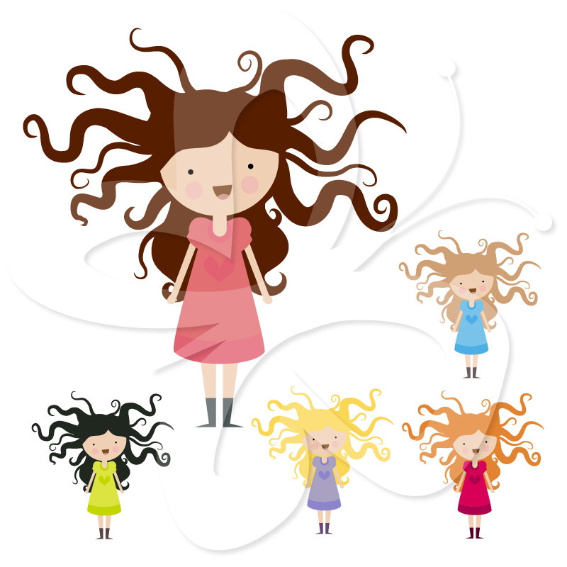 Wild Haired Girl Digital Clip Art Clipart by CollectiveCreation