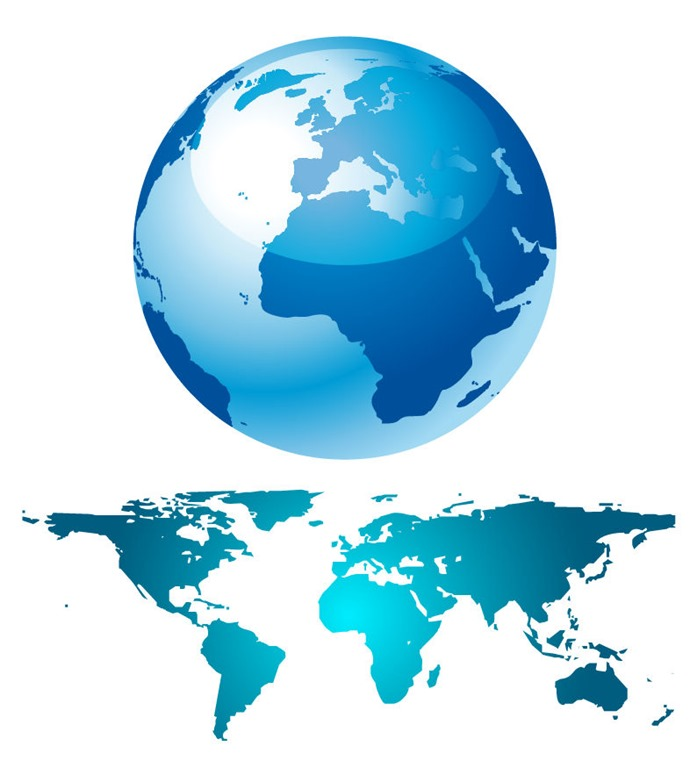 Blue Globe And World Map   Free Vector Graphics   All Free Web ...