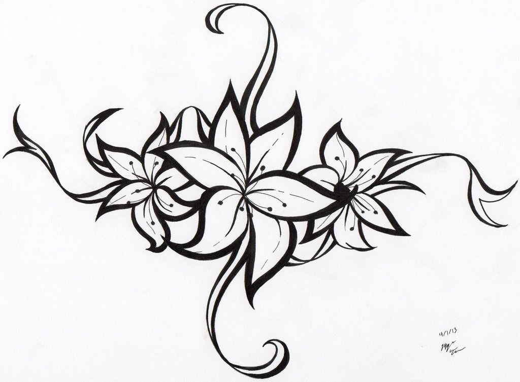 Line Drawing Flower Tattoo : Tribal line art cliparts