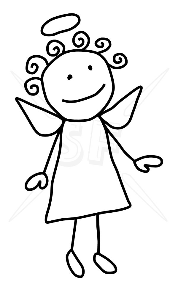 Line Drawing Figure : Angel line drawing clip art cliparts