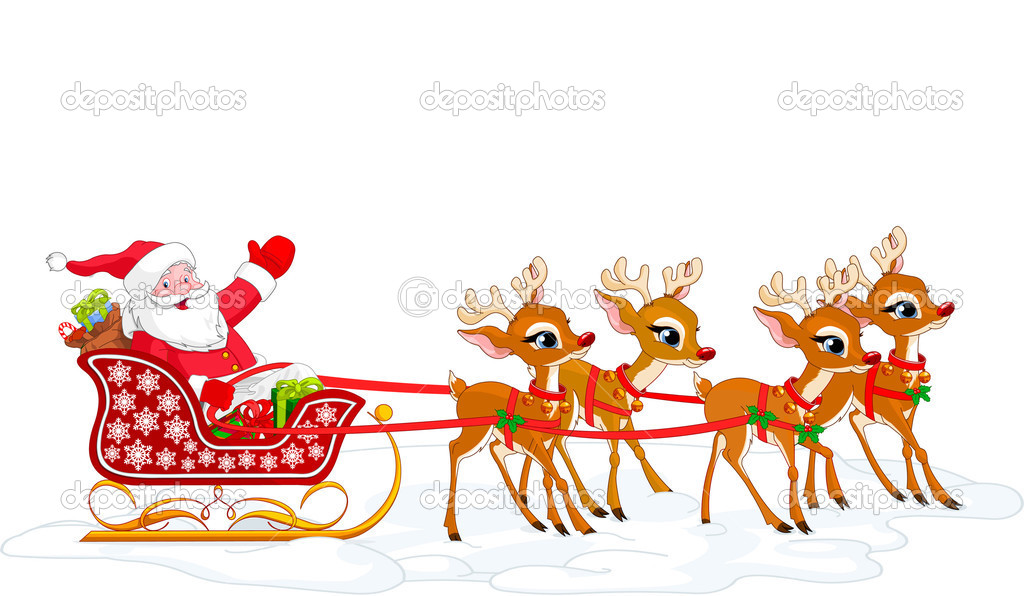 Santa Claus And His Sleigh - Cliparts.co