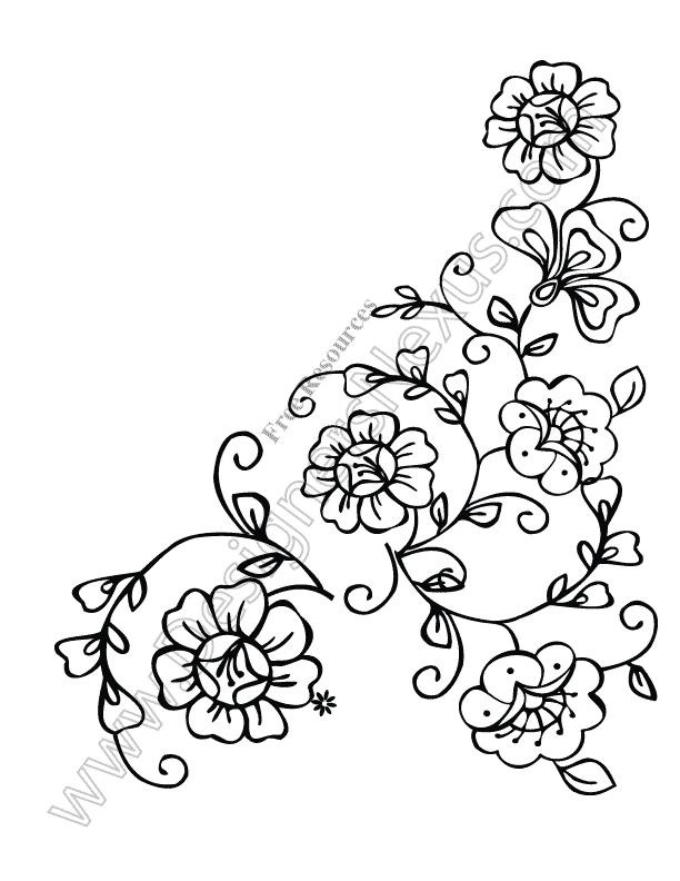 Line Art Flower Corner : Free floral clipart cliparts