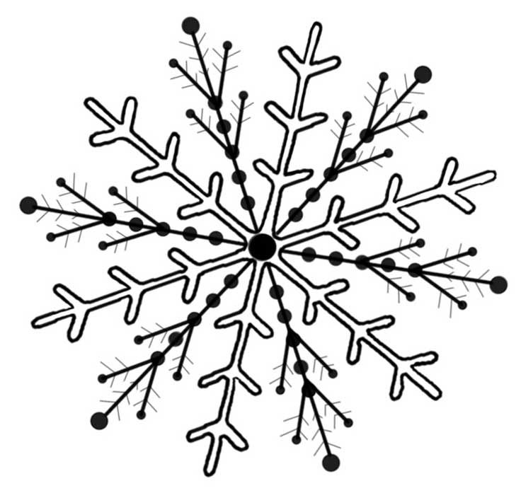 Simple Snowflake Line Art : Snowflake line art cliparts