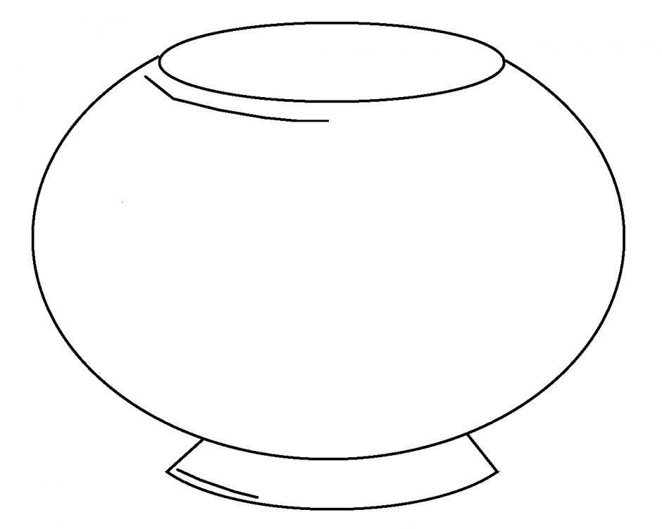 fish bowl coloring page printable - empty fish tank coloring page