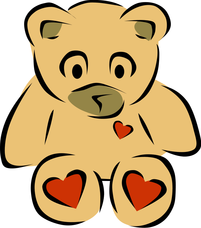 Teddy Bear with hearts Free Vector / 4Vector