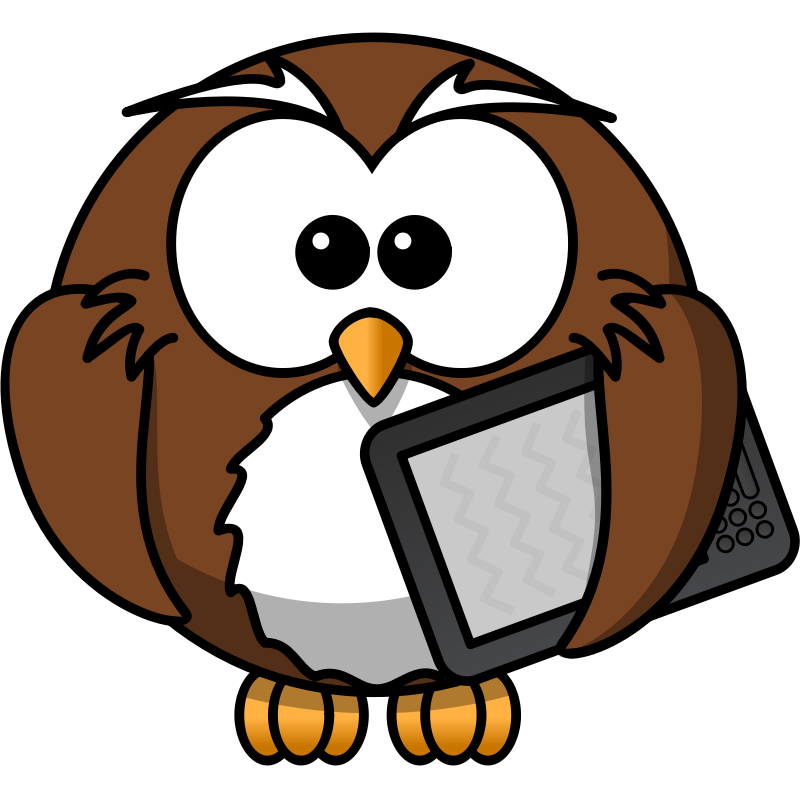 Clipart - Owl with ebook reader