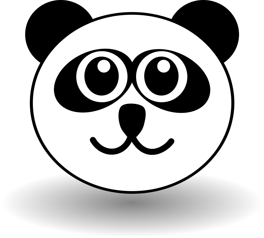 Funny panda face black and white Clipart, vector clip art online ...