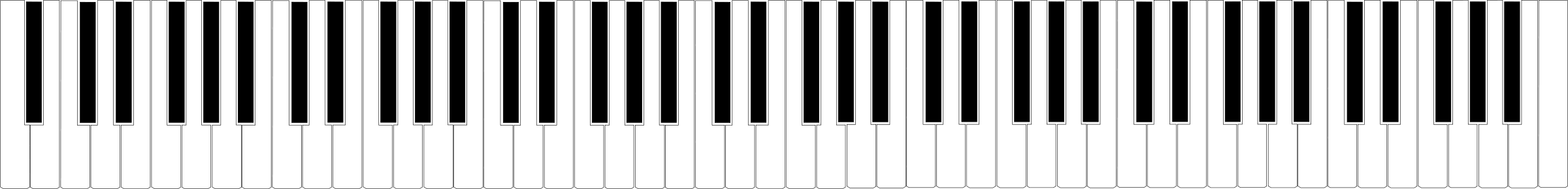 Clipart - Standard 88-key Piano Keyboard