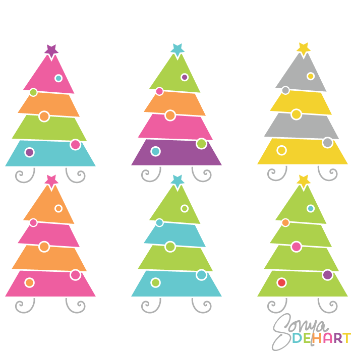 Vector Clip Art Modern Christmas Trees - Cliparts.co