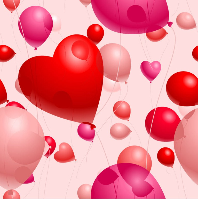 Romantic Heart-Shaped Balloons Valentine's Day Vector Illustration ...