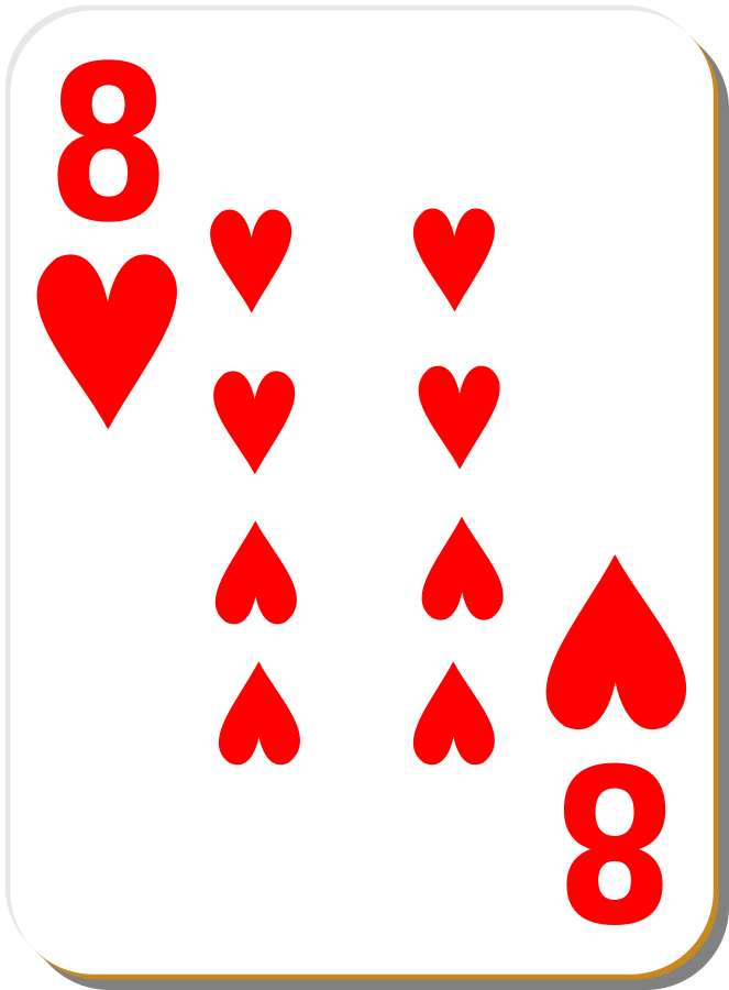 White Deck 8 of Hearts Clipart, vector clip art online, royalty ...