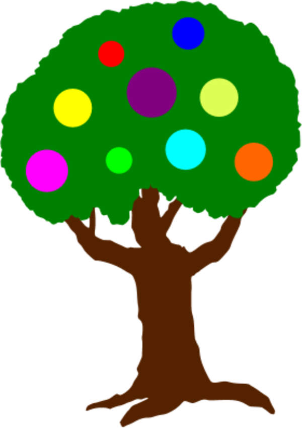 tree with colorful circles fruit - vector Clip Art