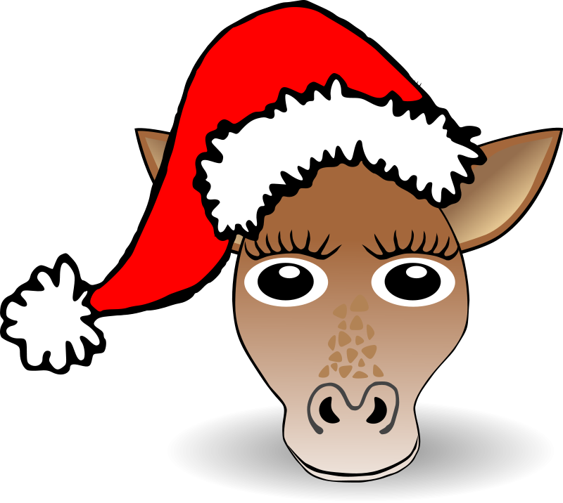 Funny Giraffe Face Cartoon with Santa Claus hat Free Vector / 4Vector