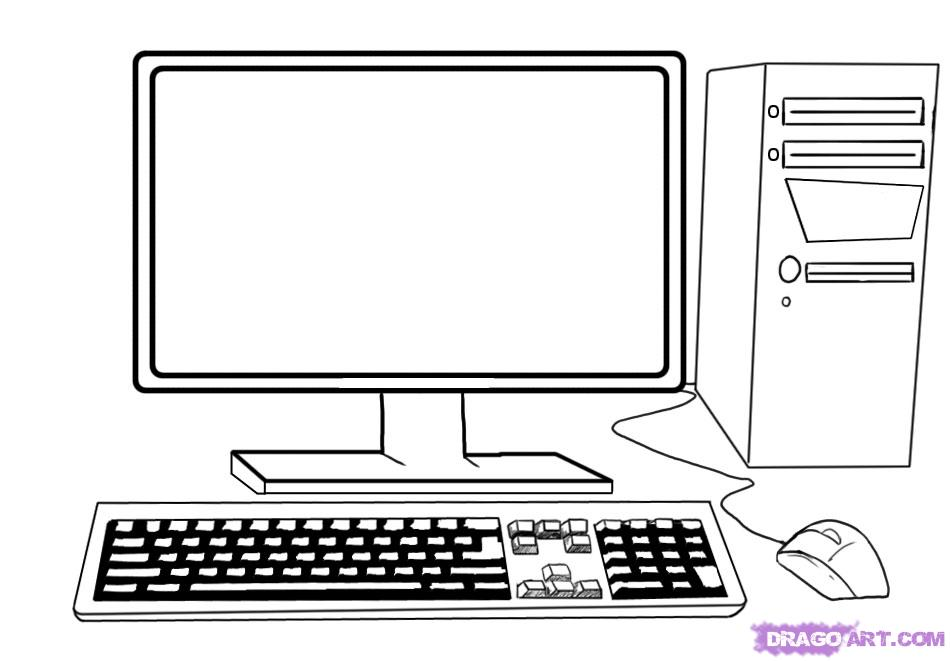 Line Art Laptop : Computer line art cliparts