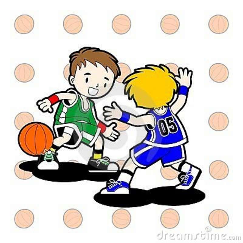 Kids playing basketball clip art