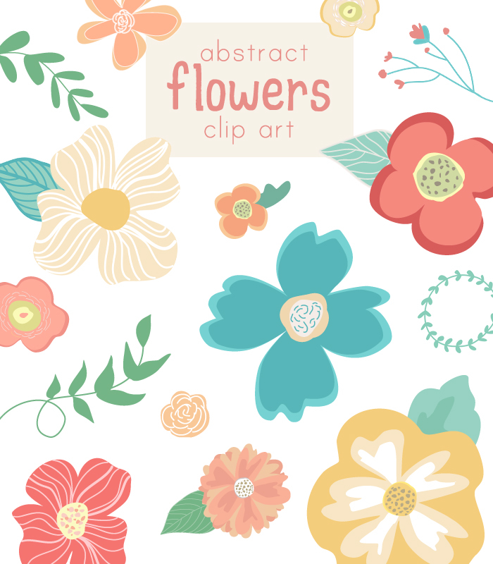 Cute flower vector clip art abstract flowers for Cute abstract art