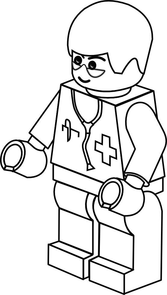 lego town doctor black white line art coloring book colouring ...