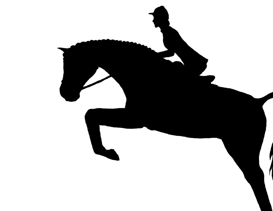 Hunter horse jumping silhouette