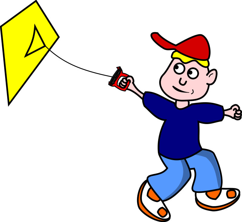 Free Kid Flying a Kite Clip Art