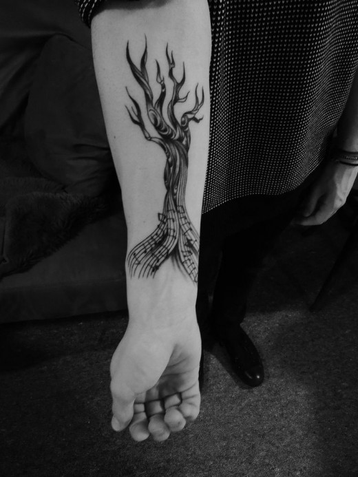 Music style black tree tattoo | Tattoomagz.com › Tattoo Designs ...