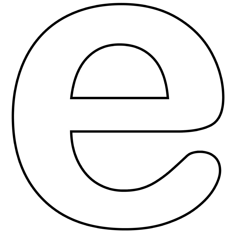 Letter e Template Lower Case Alphabet Letter e