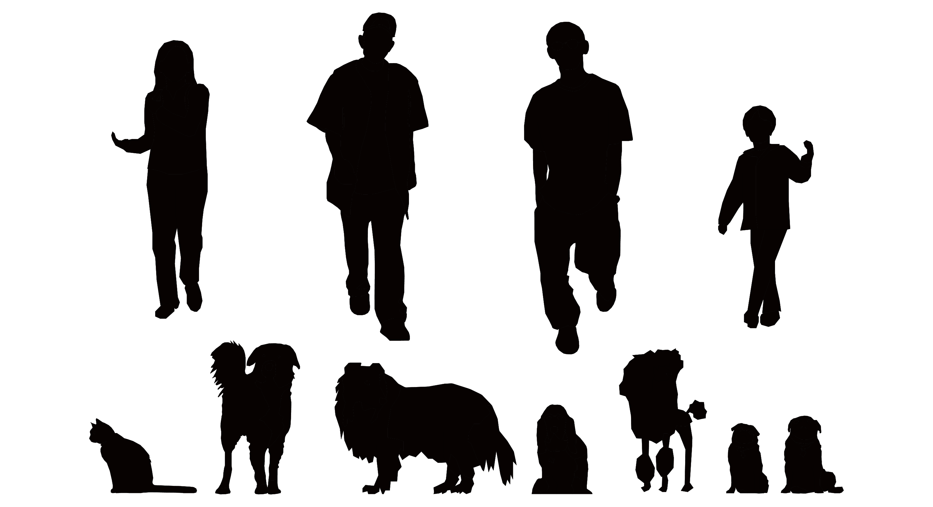 Traveling People Silhouettes Vector Art Graphics: People Vector