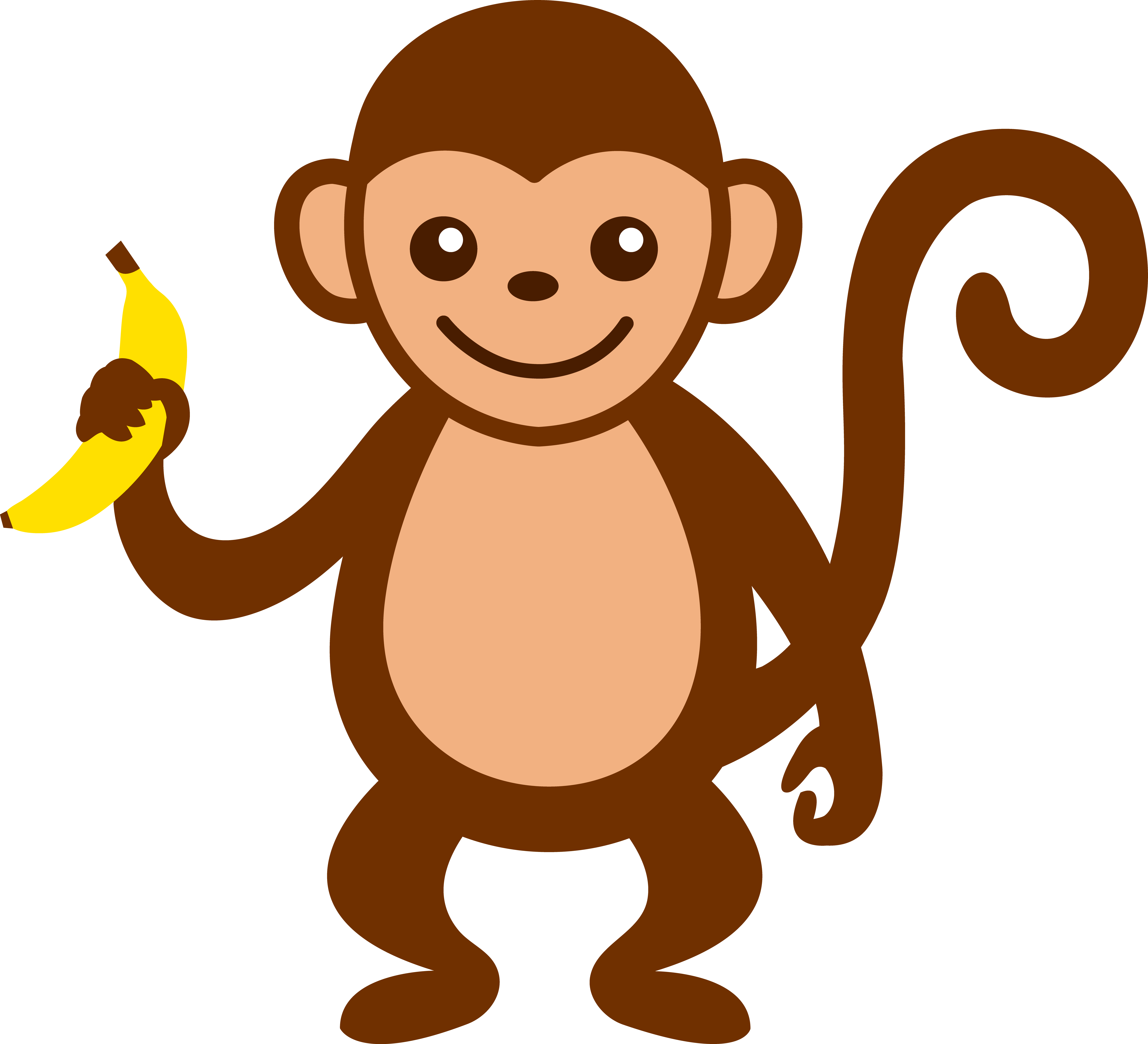How To Draw A Monkey Eating A Banana - Cliparts.co