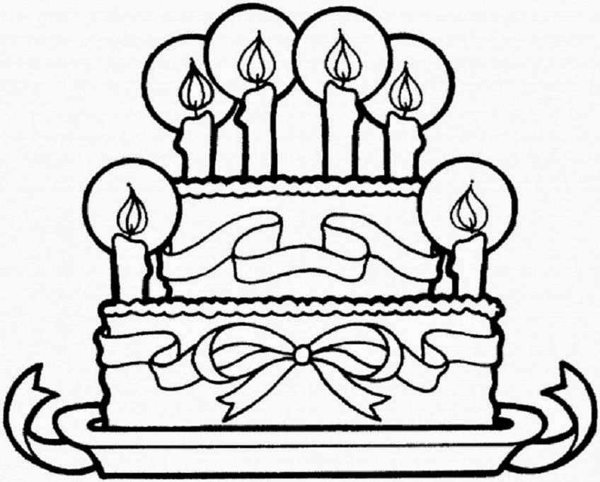 Colour Drawing Free Wallpaper: Birthday Cake Printable Coloring ...