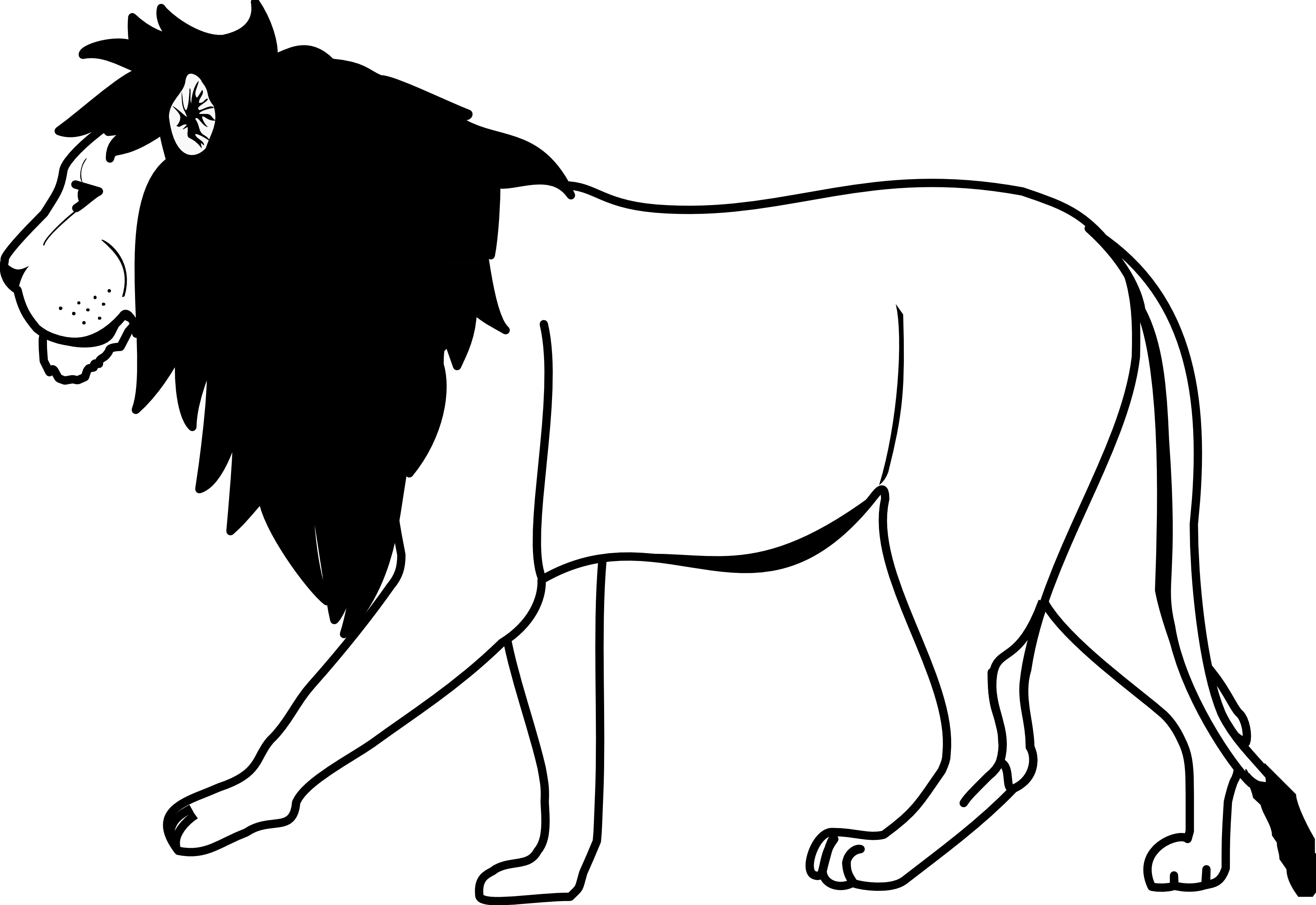Line Art Graphics : Lion line drawing cliparts